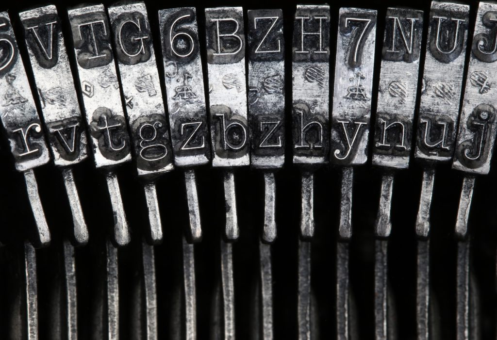 Matrix - letters on old typewriter machine