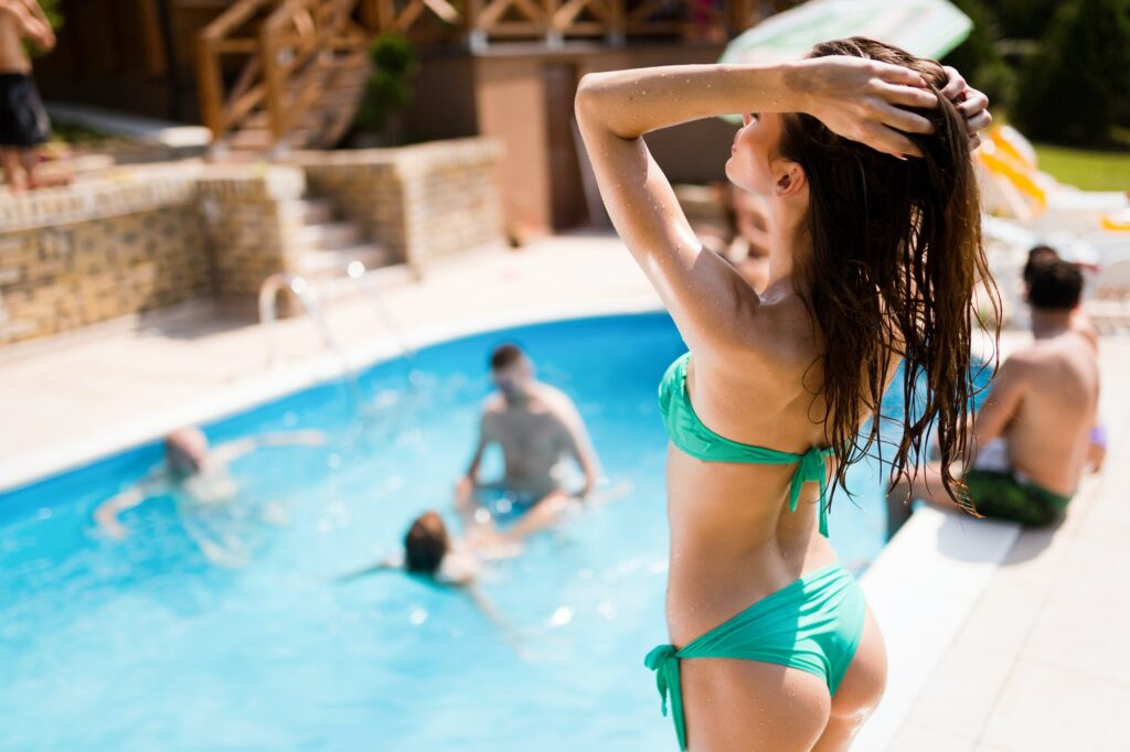 Beautiful sex girl enjoying summer vacation